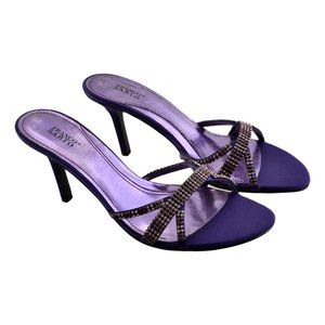 FRANCO SARTO  Slides Sandal Heels W/Jeweled Strap